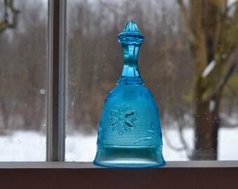Blue Glass Sun Catcher Hand Bell.  Indiana Glass Co for Tiara.  Sandwich Glass.     -  VG147
