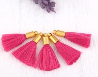 Fuschia, Mini Soft Polar Thread Tassel Charms, Mini Tassels, Tassel Charms , 5 pieces // TAS-110