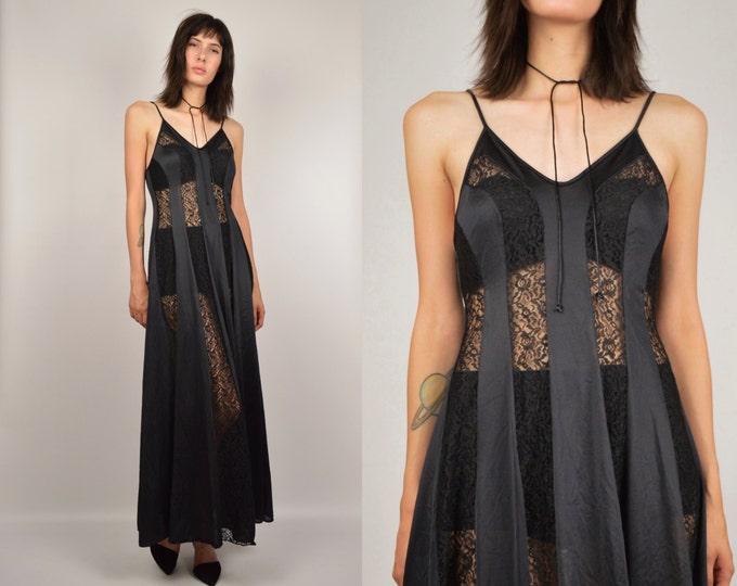 70's Black Slip Dress w/ Lace Goddess Gown vintage lingerie