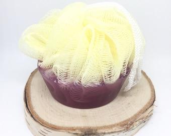 Bath Pouf Soap Bar | Kimi Vale Designs Natural Skin Care | Purple Plumeria 3oz