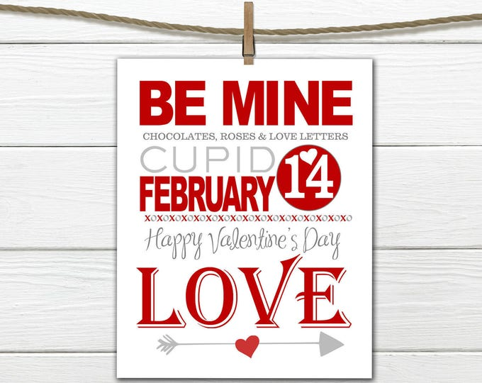 Valentine Decor -  - 8x10 INSTANT DOWNLOAD - Happy Valentine's Day Print