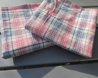Pair Pillow Cases White Linen Cotton Check Pillowcases  Deep Blue Red Pink  Stripes  Euro Pillow Shams Covers  Upholstery Plaid Kelsch