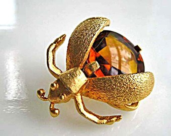 Eisenberg Bug Brooch, Winged Beetle Fly Insect, Topaz Glass, Brushed Goldtone, c. 1950s Block Letters Signature