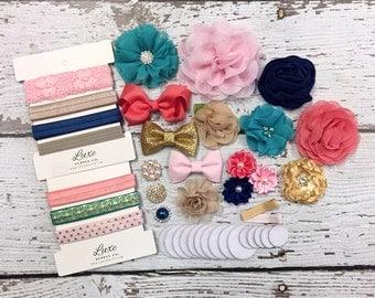 DIY Baby Shower Headband kit - Makes 12 Headbands - NEW!! 2017 Limited Edition: Teal, Coral, Gold, Navy, Tan, Light Pink - DIY Baby Headbans