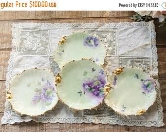 On Sale Antique French Limoges Bread and Butter Plates, Set of 4, Signed SBS, Coiffe Limoges France, Limoges Porcelain Side Plates