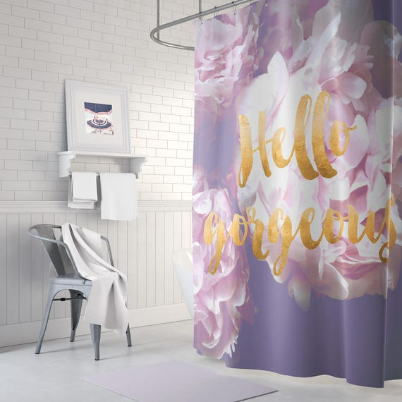 Peony floral shower curtain gold shower curtain purple for Purple and gold bathroom ideas