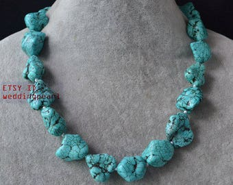 big turquoise necklace,single strand 18 inch 18-23mmmm irregular rock turquoise necklace,irregular stone necklace, mother necklace