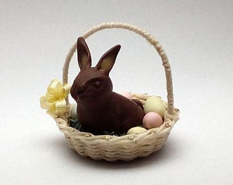 1/12 scale handmade dollhouse miniature Easter bunny basket