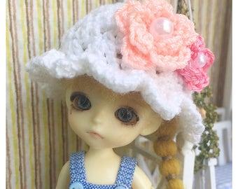 "Doll Hat for Lati White & Petite Blythe : ""Sweet Flowers Hat"" (Crochet Hat)"