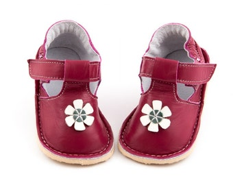 Watermelon Toddler Leather Shoes,daisy,leather lining,Vibram sole,velcro fastening, support barefoot walking,sizes EU 16 to 24 - US 2 to 7.5