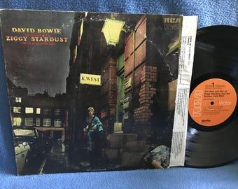 "RARE, Vintage, David Bowie - ""The Rise And Fall Of Ziggy Stardust"" Vinyl LP Record Album, Original 1972 First Press, Starman, Glam rock"