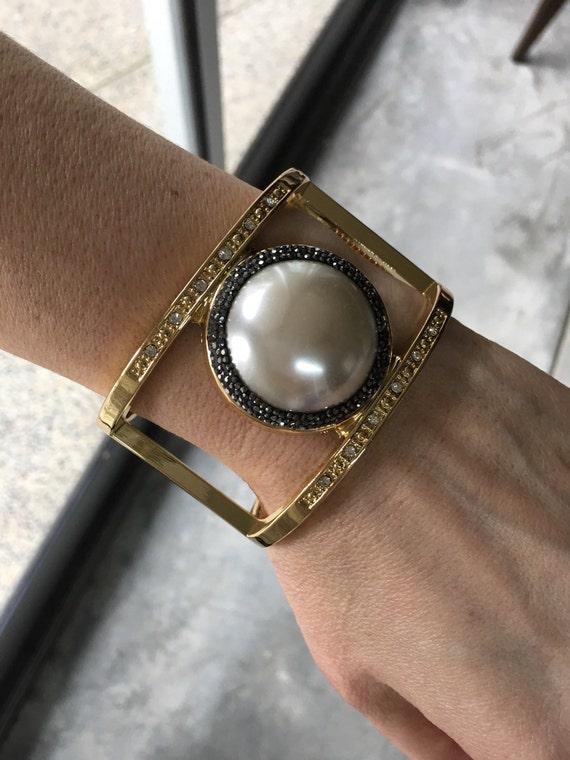 Statement Bracelet, Faux Pearl Bracelet