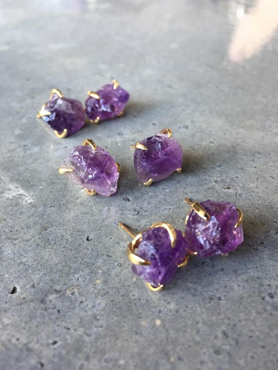 Raw Amethyst Earrings