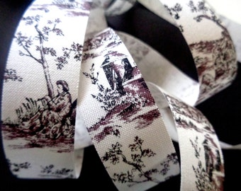 "Toile Cotton Ribbon Trim, Black, 7/8"" inch wide, 1 yard, For Home Decor, Accessories, Scrapbook, Victorian & Romantic Crafts"
