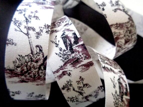 "Toile Cotton Ribbon Trim, Black, 7/8"" inch wide, 1 yard, For Home Decor, Accessories, Scrapbook, Victorian & Romantic Crafts"