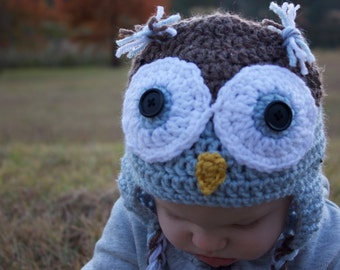 Owl Hat For Newborn-Toddler Sizes