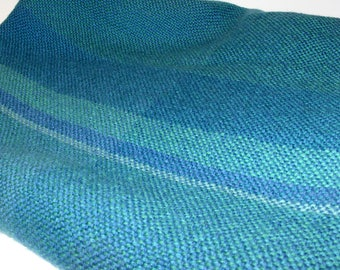 The Three Weavers Blue and Green 100 % Virgin Wool Blanket Throw