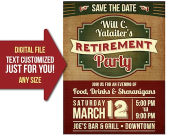 Retirement Party, event, retro, vintage, retire, party, flyer, invite, printable, poster, customized, invitation, postcard, save the date
