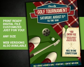 GOLF TOURNAMENT, golf, tournament, event, charity, competition, flyer, printable, poster, fundraiser, customized, invitation, postcard