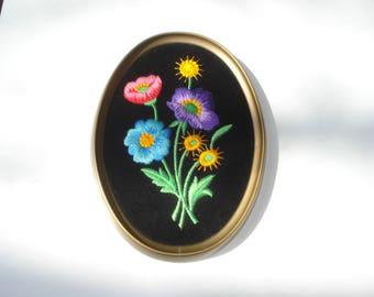 Vintage Bright Flowers Picture - Black Velvet Embroidered -  Ecstasy Giftware Decor  -1960s