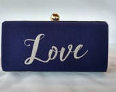 Glitter word minaudiere clutch/Monogram  box clutch/Custom made /Bridal box clutch/Wedding box clutch/gift for her/something blue