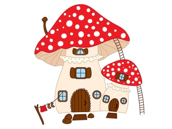 hnliche artikel wie pilz haus clipart digitale vektor pilzhaus amanita fliegenpilz haus. Black Bedroom Furniture Sets. Home Design Ideas