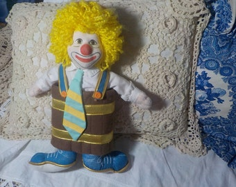 Clown, Stuffed Clown Doll, Vintage Clown Doll, Cloth Body Doll, Toys, Vintage  Toys, :)s* iof