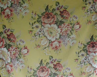 Vintage Ralph Lauren Fitted Sheet and Matching Pillowslip, Gorgeous Floral Print, Twin Bed Size, Shabby Cottage,  Large Rose Bouquets