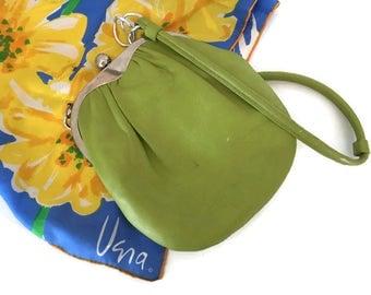 Vintage Green Leather Roger Van S Purse Mid Century Small Shoulder Bag