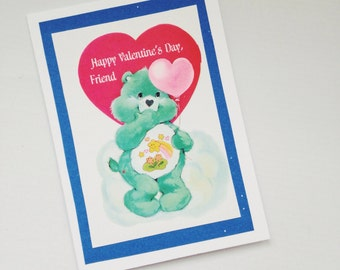 Care Bear Green and Blue Repurposed Vintage Valentine/ Valentine's Day Card