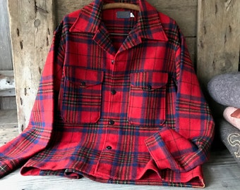 1950s Red Tartan Plaid Wool Flannel Shirt Jacket Pendleton XX Large