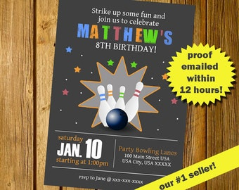 FAST EMAIL DELIVERY!  Bowling invitation, Bowling birthday invitation, Bowling party invitation, Chalkboard Invitation, Printable jpeg pdf