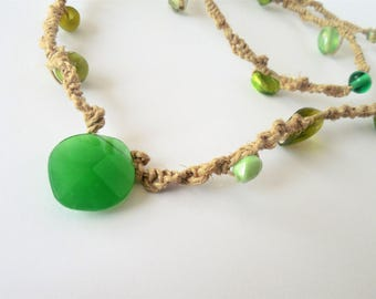 Green Hemp Necklace, Green Pendant, Natural Material, Upcycled, Beach Jewelry, Earthy, Farmers Market,