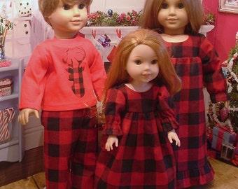Family Country Christmas Pajamas for American Girl