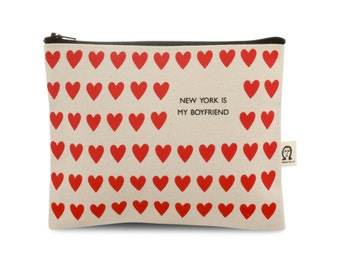 new york is my boyfriend with hearts pouch