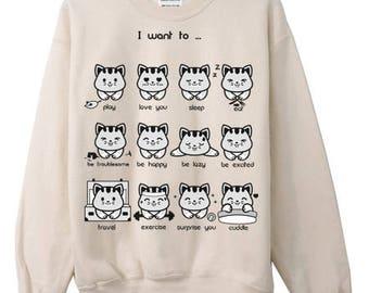English Kitty Emoticon Crewneck Sweater Sweatshirt