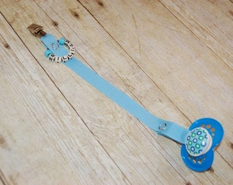 Pacifier Clip, Baby Blue, Personalization Available, Ready to Ship