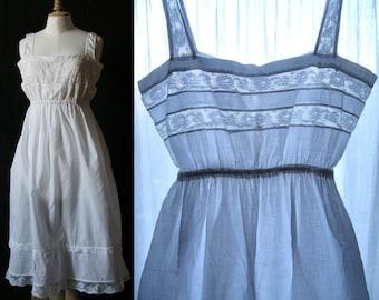 Cotton slip dress white, laces , cotton veil, Vintage Lingerie 1910's