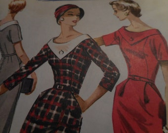 Vintage 1950's McCall's 4178 Dress Sewing Pattern, Size 12 Bust 32