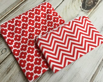Red and White (Optional Personalization) Reusable Sandwich or Snack Bags with Zipper Closure
