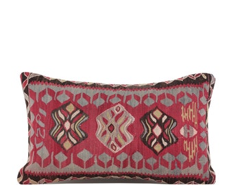"17"" x 28"" Pillow Cover Kilim Pillow Vintage Kilim Pillow Hand Embroidered Pillow FAST SHIPMENT with ups or fedex - 10822"
