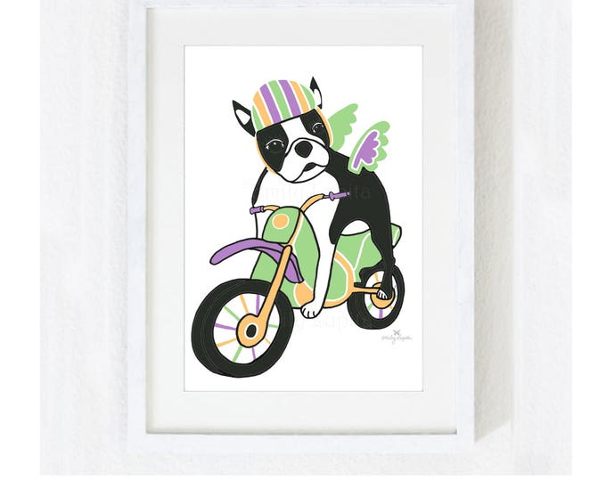 "Illustration Art Print ""Boston Terrier on a Bike"" / Dog Motorcycle Pet Portrait  / Animal Pet Memorial / Print at Home Artwork"