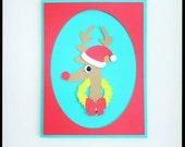reindeer card-making kit, makes 4 folded cards perfect for Christmas or thank you notes