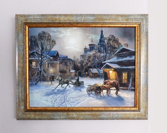 Vintage painting reproduction, winter landscape,  framed wall hanging, old masters, art gallery new old stock, framed wall hanging