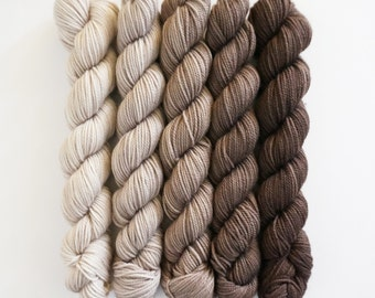 Party of Five mini skeins by Sweetgeorgia Yarns, Cobblestone colour way of ivory, beige and brown, 3 ply sock yarn merino wool