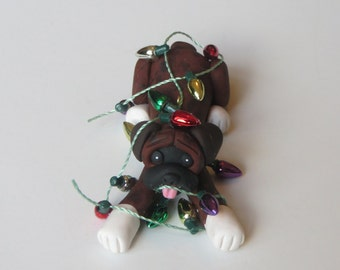 Boxer dog Christmas Ornament Figurine Polymer Clay Brindle