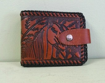 Vintage Hand Tooled Horse Wallet - Leather Wallet - Equestrian - Billfold