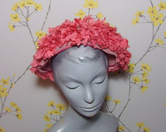 Vintage 60s Floral Headpiece Vintage Floral Headband Statement Hat Half Hat Salmon Pink Adjustable Hat