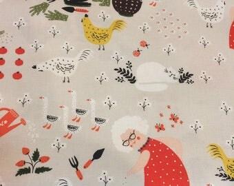 HALF YARD cut of Windham Fabrics by Dinara Mirtalipova - Gardening - Scenic in Stone #41334-2