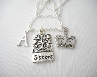 Sisters, Crown- Initial Necklace/ Sister jewelry gift, message jewelry, lil sis big sis, big sister, little sister, sister quote